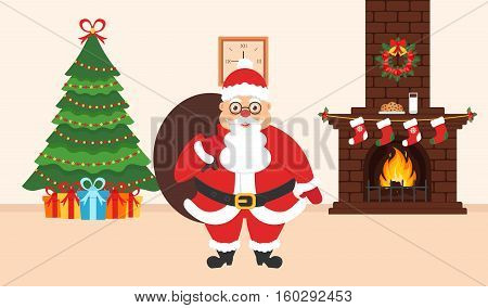 Festive interior of the room. Elegant Christmas tree brick fireplace Santa Claus with bag of gifts. Flat design. Vector.