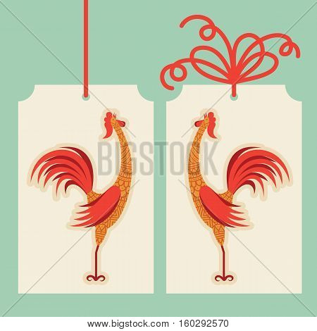 Vector decorative rooster with hand drawn ornamental body. Zodiac animal. Holiday New Year and Christmas cartoon.