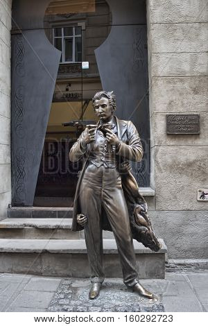 LVIV UKRAINE - MAY 5 2013: Sculptural scandalous Austrian writer Leopold von Sacher-Masoch.