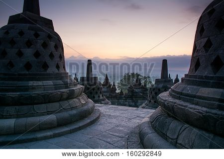 Sunrise at Borobudur Buddhist Temple, Java Island, Yogyakarta, Jakarta, Indonesia