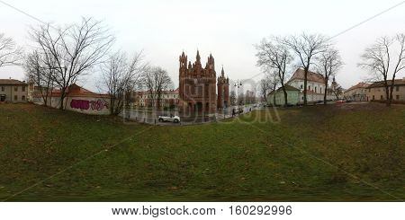 St. Anne's Church and Church of St. Francis and St. Bernard day time 360 vr panorama, Vilnius, Lithuania