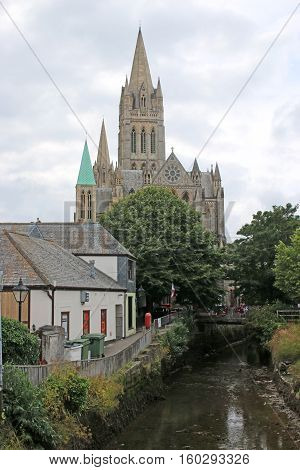 Cathedral and houses in Truro city, Cornwall