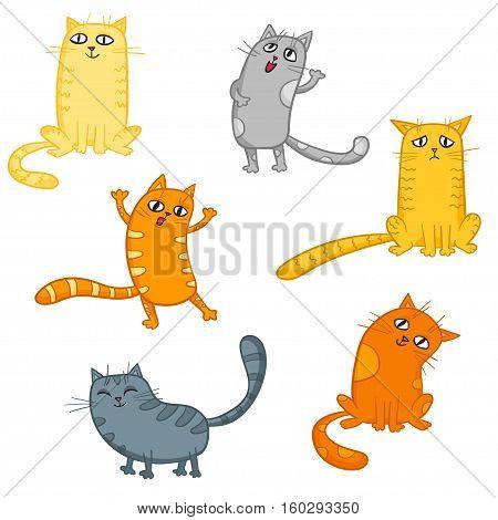 Vector set of cute cartoon cats in various poses.