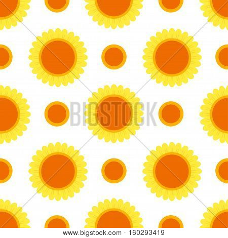Beautiful sunflower isolated on a white background. Vector abstract natural flower seamless pattern