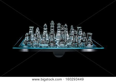 Transparent glass chess board placed on a stand, underlit, on black background