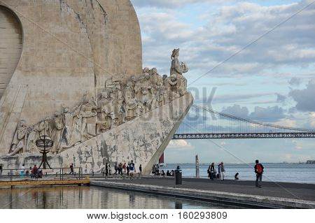 LISBON PORTUGAL - OCTOBER 13 2015: Monument to the Discoveries is a monument on the northern bank of the Tagus River estuary in Lisbon Portugal. The monument celebrates the Portuguese Age of Discovery (or Age of Exploration) during the 15th and 16th centu
