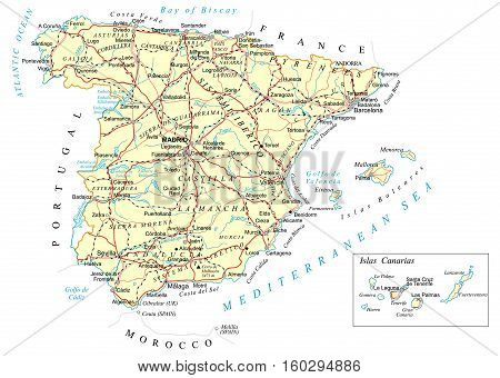Road Map Of Spain.Large Detailed Road Vector Photo Free Trial Bigstock