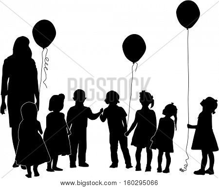 illustration with children and woman silhouettes isolated on white background