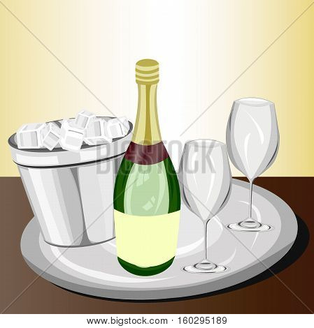 Bottle of champagne next to two glass with its respective bucket of ice, served in a tray on a bar