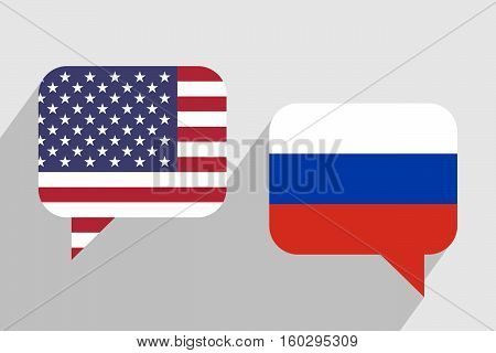 Two message clouds with flags of USA and Russia respectively. Dialogue between United States of America and Russian Federation. Geopolitics and leadership concept