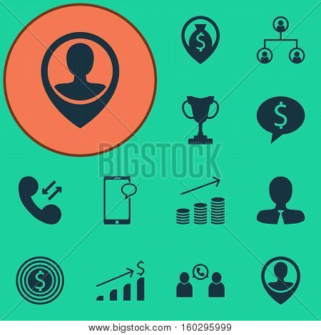 Set Of 12 Management Icons. Can Be Used For Web, Mobile, UI And Infographic Design. Includes Elements Such As Prize, Money, Chat And More.