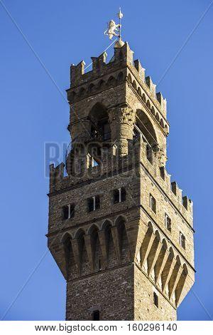The tower of the Palazzo Vecchio, Piazza della Signoria, Florence, Tuscany, Italy