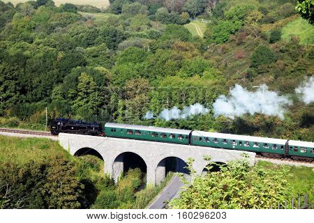 Steam train on the bridge between trees.View from the hill in Dorsen in England.