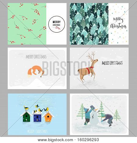 Set of Christmas cards. Contains hand drawn elements, patterns and cute characters. Vector