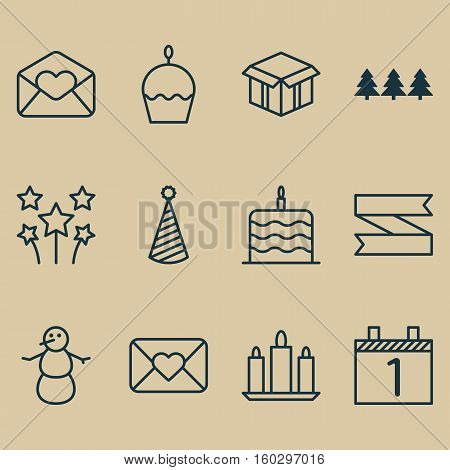 Set Of 12 Christmas Icons. Can Be Used For Web, Mobile, UI And Infographic Design. Includes Elements Such As Cake, Agenda, Tree And More.