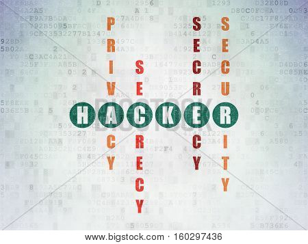 Protection concept: Painted green word Hacker in solving Crossword Puzzle on Digital Data Paper background