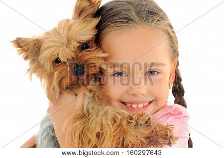 Portrait of happy child with dog on white