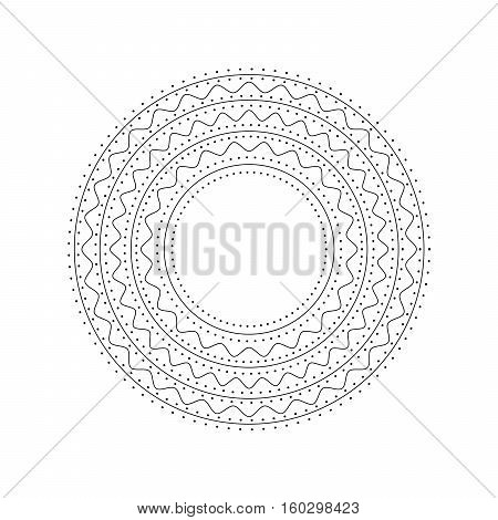 Mandala. Ethnic decorative element. Hand drawn backdrop. Islam, Arabic, Indian, ottoman motifs. Boho style. Mono color black line art for adult coloring book page design.