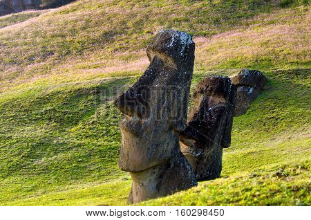 View of Moai at Rano Raraku on Easter Island in Chile