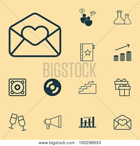 Set Of 12 Universal Editable Icons. Can Be Used For Web, Mobile And App Design. Includes Elements Such As Blank Cd, Champagne Glasses, SEO Brainstorm And More.