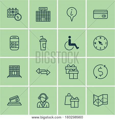 Set Of 16 Transportation Icons. Can Be Used For Web, Mobile, UI And Infographic Design. Includes Elements Such As Compass, Map, Hotel And More.