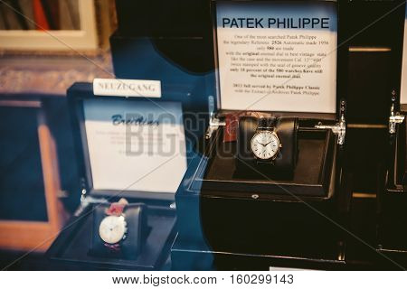 BADEN BADEN - GERMANY - NOV 20 2014: Patek Philippe Refernz 2526 luxury watch in the window of a store in Baden-Baden. It is one of the mosthsearched luxury watches worldwide