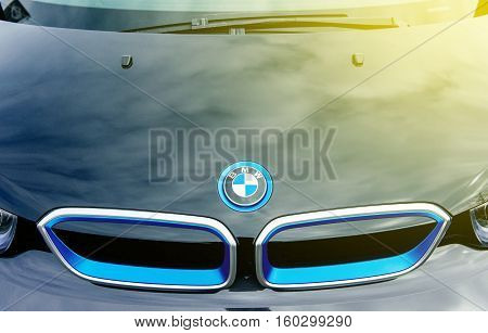 MUNCHEN GERMANY - APRIL 06 2015: Abstract Electric BMW i3 front radiator grille detail. Previously Mega City Vehicle (MCV) is a five-door urban electric car developed by the German manufacturer BMW.