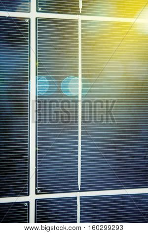 Detail of freshly installed photovoltaic solar panel on the roof of a school in Germany on a suny summer day