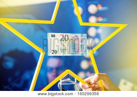 STRASBOURG FRANCE - MAY 2 2015: Detail of the Presentation - new 20 Euro banknotes by the European Central Bank official. The new 20 Euro banknote with the European symbol Europe is highly protected and has a new design and will start circulating in the e