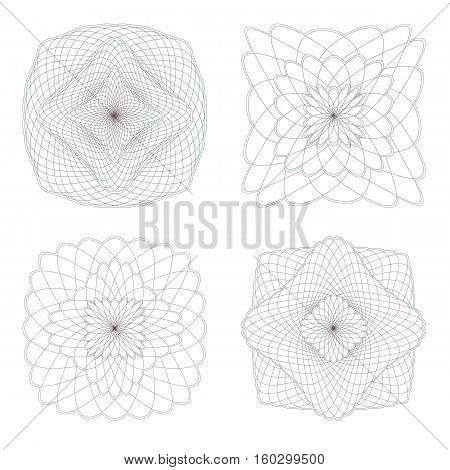 Guilloche Rosettes on a White Background. Set.