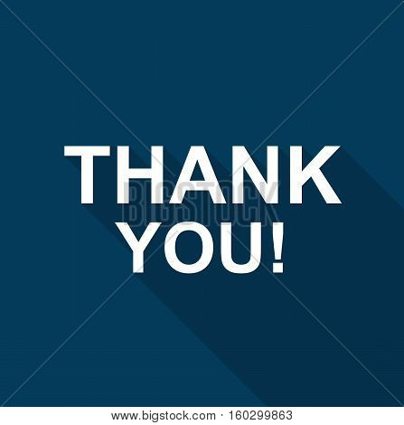 Blue thank you card lettering text logo vetor stock