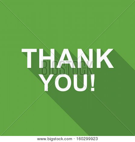 Green thank you card lettering text logo vetor stock
