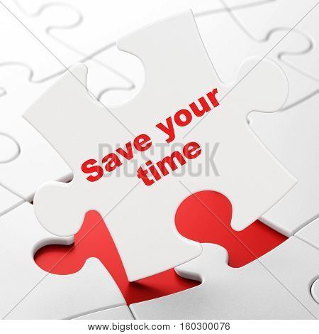 Timeline concept: Save Your Time on White puzzle pieces background, 3D rendering