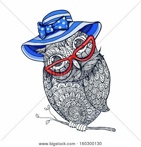 Zentangle style fashion owl in red eyeglasses and blue vintage hat. Illustration with ornaments fill for adult coloring book page design, antistress ink drawing or tshirt print design, fabric textile