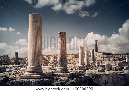 Pillars and ruins at Kourion archaeological site. Limassol District Cyprus.