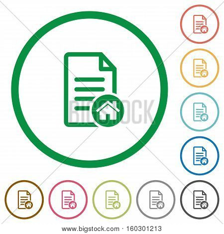 Default document flat color icons in round outlines