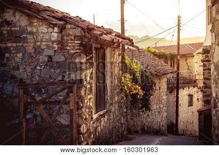Street in the mountain village of Agros. Limassol District Cyprus.