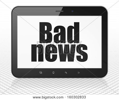 News concept: Tablet Pc Computer with black text Bad News on display, 3D rendering