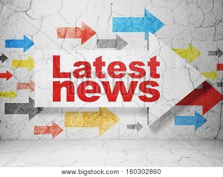 News concept:  arrow with Latest News on grunge textured concrete wall background, 3D rendering