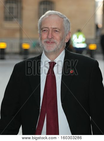LONDON, UK, NOV 13, 2016: Jeremy Corbyn Leader of the Labour Party attends the BBC Andrew Marr Show at the BBC Studios image taken in the street