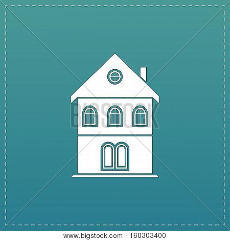 Simple old house. White flat icon with black stroke on blue background