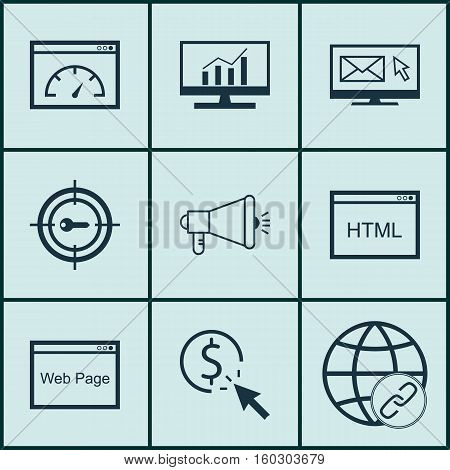 Set Of 9 SEO Icons. Can Be Used For Web, Mobile, UI And Infographic Design. Includes Elements Such As Viral, HTML, Code And More.