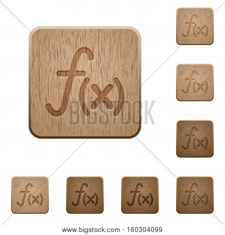 Function icons in carved wooden button styles