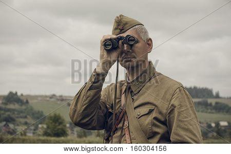 PERM RUSSIA - JULY 30 2016: Historical reenactment of World War II summer 1942. Soviet officer