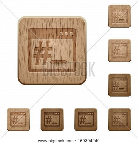 OS root terminal icons in carved wooden button styles