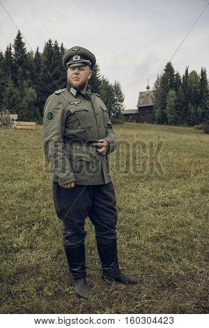 PERM RUSSIA - JULY 30 2016: Historical reenactment of World War II summer 1942. German officer
