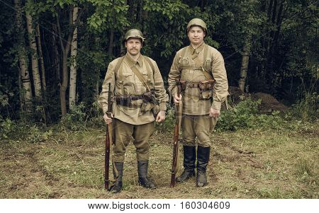 PERM RUSSIA - JULY 30 2016: Historical reenactment of World War II summer 1942. Soviet soldiers