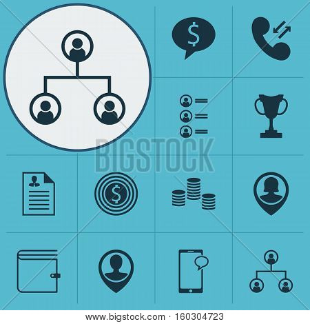 Set Of 12 Human Resources Icons. Can Be Used For Web, Mobile, UI And Infographic Design. Includes Elements Such As Cup, Cellular, Organisation And More.