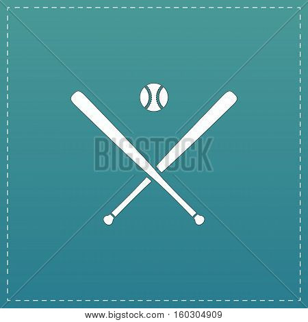 Crossed baseball bats and ball. White flat icon with black stroke on blue background