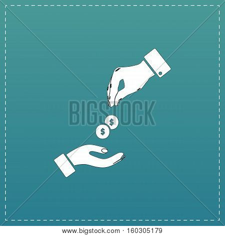 Hands Giving and Receiving Money. White flat icon with black stroke on blue background